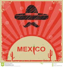 Mexican Style Graphic Design Mexican Style Poster With Sombrero On Old Paper Stock Vector