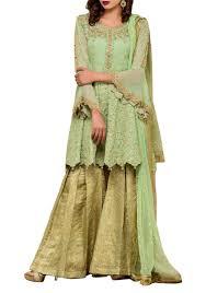 Splendid Green 3 Piece Embroidered Chiffon Frock And Gharara Pants
