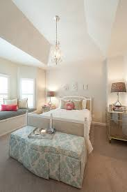 with vintage chandelier over twin size beds as well as beautiful fabric slipcover bench on brown solid fiber rugs plus luxury mirrored bedside table bedroom furniture bedside cabinets mirror antique
