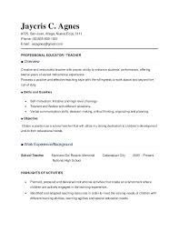 resume of teacher sample resume cv cover letter