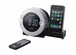 Sony alarm clock with docking station for ipod and iphone