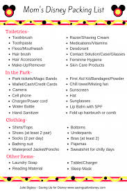 Moms Disney Packing List Free Printable Packing List