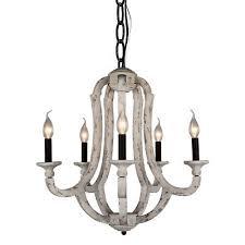 vintage 5 light wood chandelier rustic metal wooden chandeliers lamp distressed