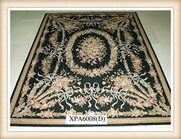 handmade 4 x 6 black field beige border flat weave aubusson rug gc8aub26