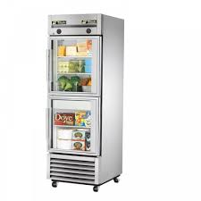 true t 23dt g single half glass door dual temperature refrigerator freezer