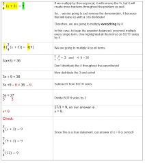 solving equations with fractions by eliminating the fractions