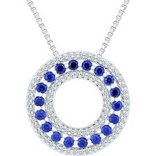 sterling silver lab created white and blue sapphire circle pendant