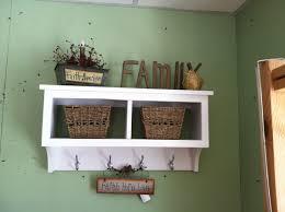 Oak Coat Rack With Baskets 100 Cubby Wall Shelf Country Shelf for Baskets Bath Or Entryway W 89