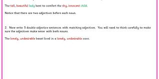 Double Adjective Sentences | Classroom Secrets