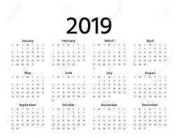 2019 Calendar Horizontal 2019 Calendar Vector Week Starts Sunday In Minimal Simple Style