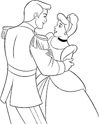 Coloring Pages Princess Cinderella And Prince Dancing 809 Princess