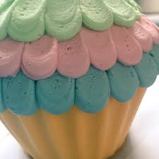 Giant Cupcake Birthday Cake With Rainbow Butter Cream Garden Tea