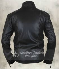 mens black rivet antique motorcycle style casual fitted leather jacket back view