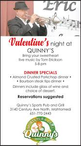ericvalentine s night atquinny sbring your sweetheartlive by tom erickson5 8 pmdinner specialsalmond crusted