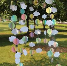 1 5 meters pastel baby shower decor clouds hot air balloons photo prop paper garland