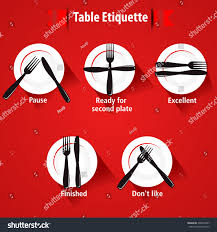 Dining Etiquette Table Manner Forks Knifes Stock Vector - Dining room etiquette