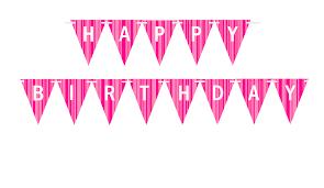 Light Pink Hot Pink Triangular Happy Birthday White Bunting Letter Banner