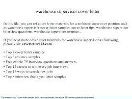 Sample Cover Letter For Warehouse Supervisor Position Job Cover