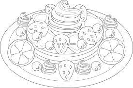 無料イラスト フルーツパンケーキのぬりえ