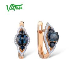 <b>VISTOSO Gold Earrings For</b> Women 14K 585 Rose Gold Sparkling ...