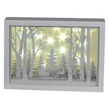 Formano Led Winterwald 3d Holz Deko Für Winter Und Weihnachten Eckig Weiß Mit Timer Funkrion Mit Licht Beleuchtet Batt