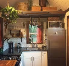 tiny house fridge. Tiny House Kitchen With Subway Tile Backsplash, Fridge, Microwave, Range, Corner Shelves Fridge P