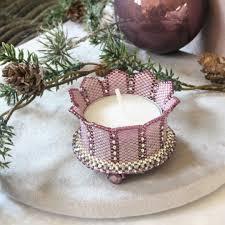 Beaded Tea Light Candle Holders Beading Pattern Candle Holder Turrets Candle Holders