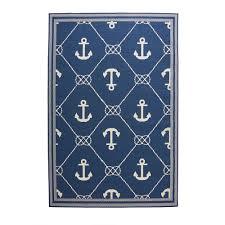 hampton bay anchor blue cream 8 ft x 11 ft indoor outdoor