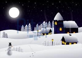 Bildagentur Pitopia - Bilddetails - Landschaft (flyingcow) Bild 1382402 schnee, winterlandschaft, rehe, schneemann, hütte, kirche, tannenbäume, nachts, vollmond, sternenhimmel, winter, illustration