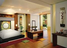 Recessed Light In White Ceiling In Great Interior Design Of Japanese Bedroom  With Black Bedstead And ...