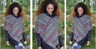 Free Knitted Poncho Patterns Fascinating Monaco Stripes Knitted Poncho [FREE Knitting Pattern]