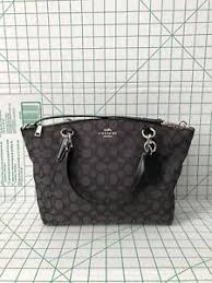 Image is loading Coach-F27582-Outline-Signature-Small -Kelsey-Jacquard-Satchel-