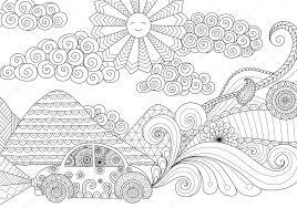 Rijden Rond Strakke Lijnen Doodle Ontwerp Voor De Kleurplaat Boek