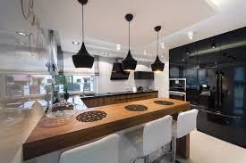 modern kitchen with black appliances