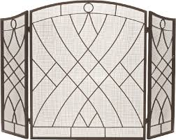 bronze vintage design wrought iron three fold arched fireplace screen