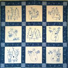 A Quilt of Snowmen and Their Reindeer Buddies Embroidered in ... & Picture of Snowmen & Reindeer Hand Embroidery Quilt Adamdwight.com