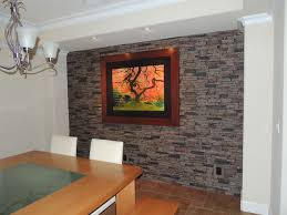 Faux Stone Accent Walls contemporary-dining-room