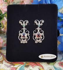 genuine garnet italian renaissance filigree chandelier earrings with genuine green tourmaline set in sterling silver
