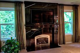 black silk marble fireplace