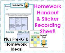 Preschool Bee Homework Handout Ideas Sticker Recording Sheet