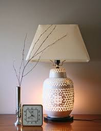 vintage blanc de chine porcelain table lamp hollywood regency