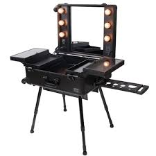 rolling studio makeup case w light mirror black train wheel organizer cosmetic ebay