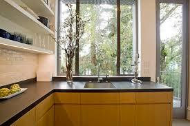 kitchen counter window. Beautiful Black Granite Countertops Vogue San Francisco Modern Kitchen Decoration Ideas With Built-in Sink Dark Countertop Counter Window