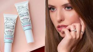 too faced hangover good to go spf 25 in packaging and closeup of makeup model