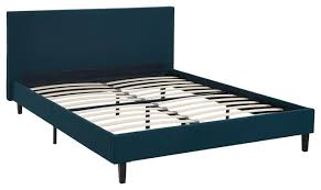Modern Contemporary Urban Queen Size Platform Bed Frame, Navy Blue, Fabric Wood