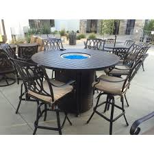 san marcos 7 piece bar height patio set with fire pit 71 inch round table for 6 person