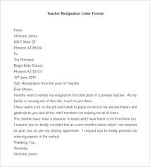 resignation letter template      free word  pdf documents    sample teacher resignation letter format