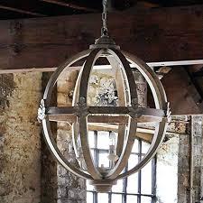 chandelier wood sphere orb epic font lighting wooden ceiling and chrome barrel