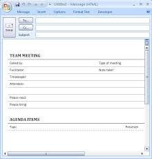 Outlook Meeting Agenda Template Download Ms Office Meeting Agenda For E Mail Informal