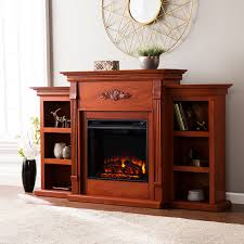 tennyson electric fireplace w bookcases classic mahogany